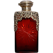 SALE William Comyns English Sterling Silver & Ruby Glass Decanter