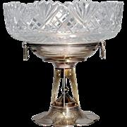 SALE Silver-mounted cut-glass tazza Mark of Nikolai Tarabrov, Moscow, 1908-1917