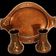 SALE AE Jones Copper & Silver Vases & Tray