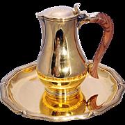 SALE Puiforcat Paris gilt 950 silver prix vermeille 1980 jug & tray