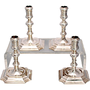 SALE Set of four English Georgian Style Cast Sterling Silver Candlesticks