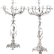 SALE Pair of Monumental German Art Nouveau Silver Candelabra