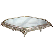 SALE German Silver Oval Mirrored Plateau