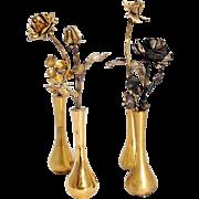 Set of four Vintage Tiffany Sterling Silver bud Vases & Rose bud Vermiel