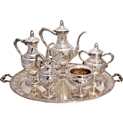 SALE Schofield Sterling Silver Tea & Coffee Service With Tray Grape & Vine Pattern