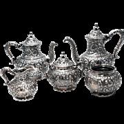 SALE Hamilton & Diesenger Floral Sterling Silver Five-Piece Tea Set