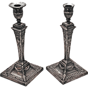 SALE Pair of English Sterling Silver Repousse Candlesticks