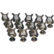 SALE Set of 12 English Sterling Silver Lyre Instrument Place Card Holders
