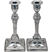 SALE Pair of Sheffield English Sterling Silver Candlesticks