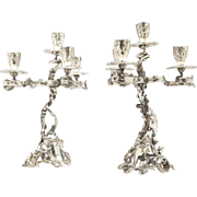 SALE Pair of Wolfers Freres Silver Candelabra, Circa 1900