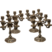 SALE Set of Four Peruvian Sterling Silver Five-Light Candelabra