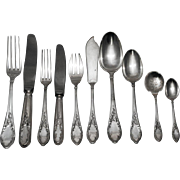 SALE Fine French Sterling Silver Flatware Set- 131 pieces