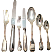 SALE Georgian Sterling Silver Fiddleback Flatware Set
