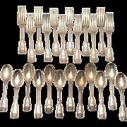 SALE Tiffany & Co. Sterling Silver Shell & Thread Fork & Spoon Set
