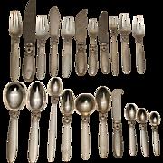 SALE Georg Jensen Cactus Sterling Silver Flatware Set - 214 pcs.
