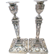 SALE Pair of Sterling Silver English Candlesticks