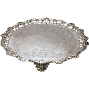 SALE English Sterling Silver Victorian Style Round Footed Tray
