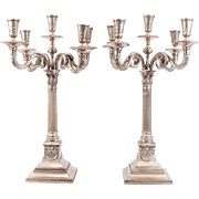 SALE Pair of Large German Silver Judaica Candelabra