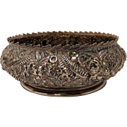 SALE Silver Serving Bowl With Repousse Design