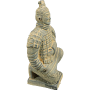 "Clay Replica Of China's Terracotta Army Kneeling Warrior 6 5/8"" Tall"