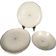 Taylor Smith & Taylor 5 Salad Plates and 1 Fruit/Dessert Bowl-Modern Star Pattern