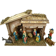 Sears Nativity Set 7 Hand-Painted Figurines and Wood Stable Made in Italy