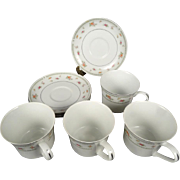 4 x Abingdon Fine Porcelain China Cups and Saucers Circa 1970s