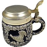 Vintage Beer Stein with Pewter Lid