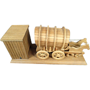 Wind-Up Music Box Plays As the Horses and Covered Wagon Moves Back and Forth