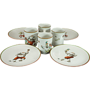 Fitz & Floyd Variatons(Santas) Cups And Plates Set Of 4 C. 1980s