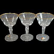 Fostoria Golden Belle Pattern Champagne/Tall Sherbert Glasses X 3 C. 1960s