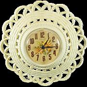 Vintage Burwood Wall Clock Basket Wicker Design New Haven Quartz C. 1974