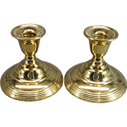 "International Solid Brass Weighted 3 1/2"" Candlestick Holders"