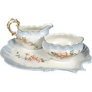 A Lanternier Limoges Creamer and Sugar Bowl on Serving Plate - 1895