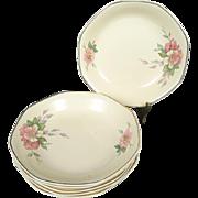 Homer Laughlin Vintage Octagonal Soup Bowls x6 Wild Rose Yellowstone
