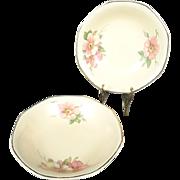 Homer Laughlin Vintage Octagonal Fruit Bowls x2 Wild Rose Yellowstone