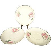 Homer Laughlin Vintage Octagonal Tea Cup Saucers x3 Wild Rose Yellowstone