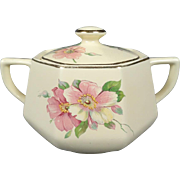 Homer Laughlin Vintage Octagonal Sugar Bowl With Lid Wild Rose Yellowstone