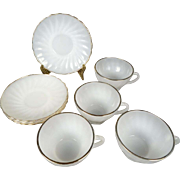 Anchor Hocking Fire King Milk Glass Tea Cup And Saucer Set Of 4