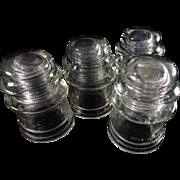 Insulators x 4All clear glass.