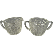 "Anchor Hocking Creamer and Sugar Bowl ""Stars and Bars/Thousand Lines"" Pattern"