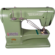 Vintage Elna Swiss Supermatic Steel Sewing Machine with Green Carrying Case