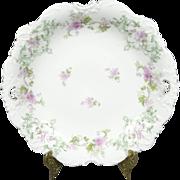 Antique Elysee Floral Serving Bowl with Gold Trim
