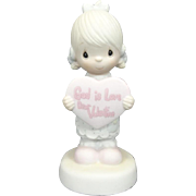 "Enesco Precious Moments ""God Is Love Dear Valentine"" Ceramic Figurine"