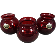 "Set of 3 Anchor Hocking ""Royal Ruby"" Bulbous Vases"