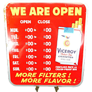 Vintage Viceroy Advertising Store Hours Sign