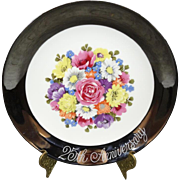 Enesco 25th Anniversary Floral Plate 1983