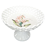 Vintage Open Weave Milk Glass Compote Bowl with Cut Design Stem