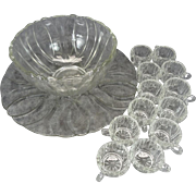 Crystal Punch Bowl With Serving Tray And 12 Glasses