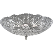 """Vintage Crystal Oval Footed 10"""" Bowl / Center Piece"""